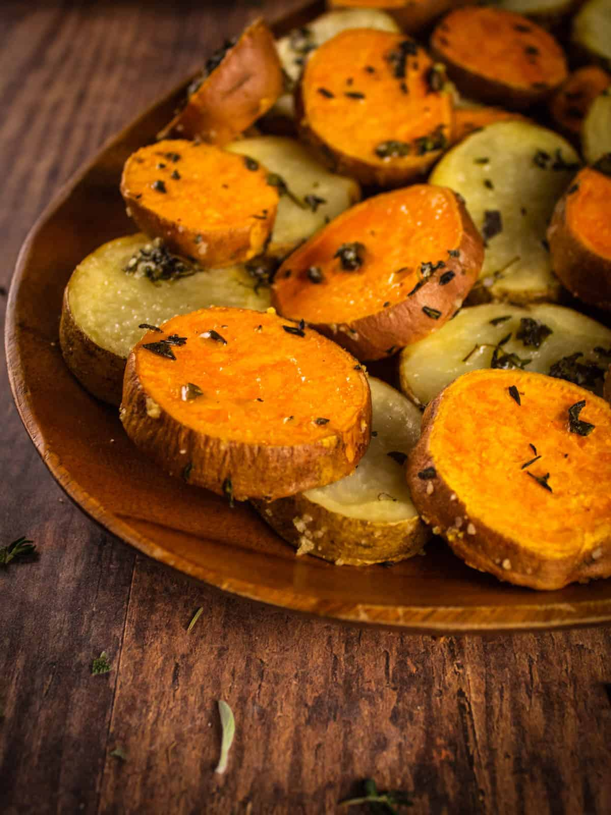 roasted sliced russett and sweet potatoes