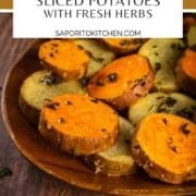 sliced roasted potatoes with herbs