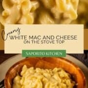 creamy white macaroni and cheese in a wooden bowl