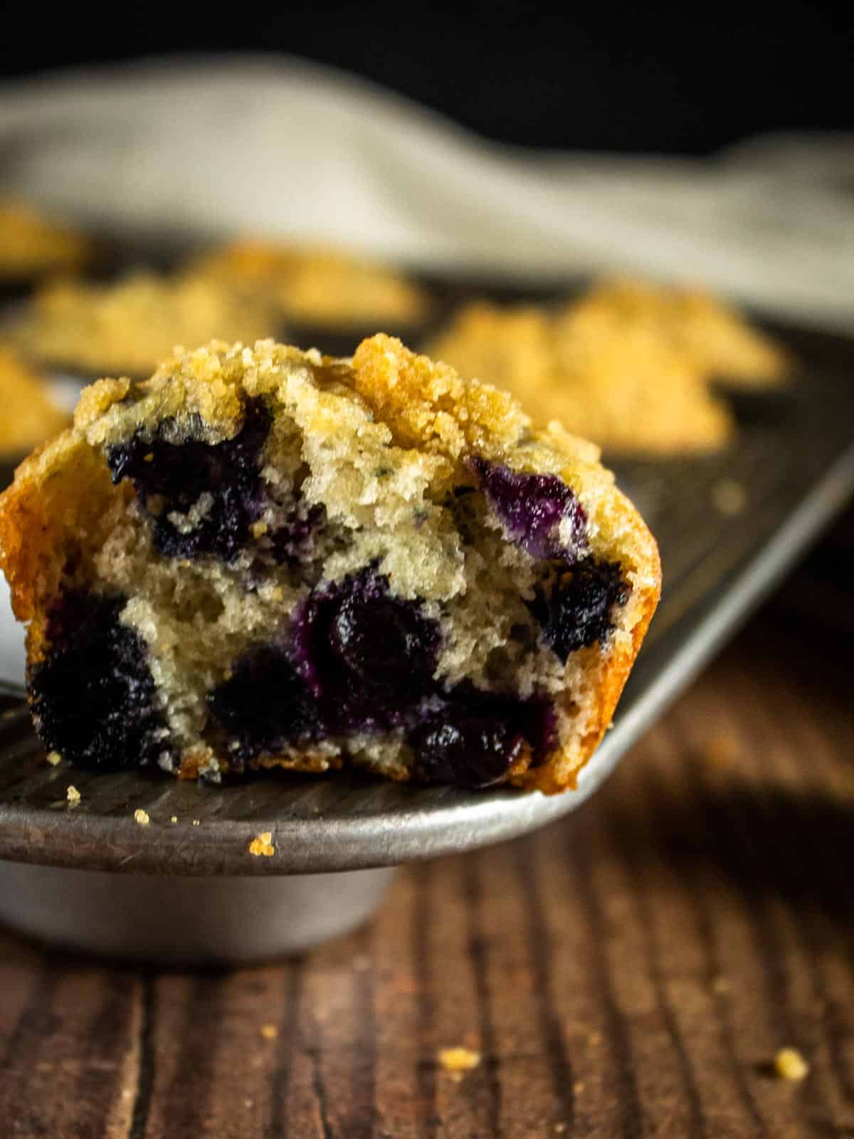 inside of a baked blueberry muffin