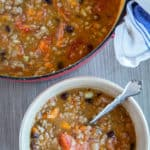 large pot and bowl of turkey chili