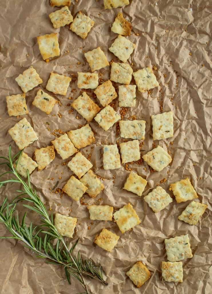finished crackers with sprig of rosemary
