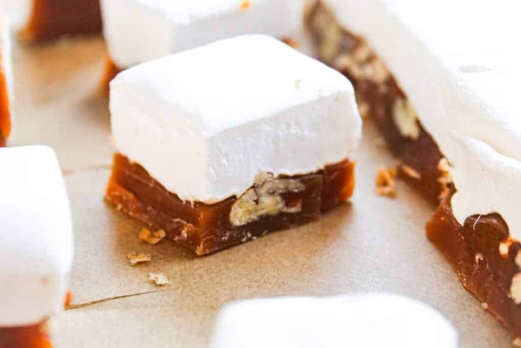 pieces of caramel pecan marshmallow candy