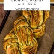 loaf of braided bread with pesto
