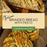 braided bread with pesto
