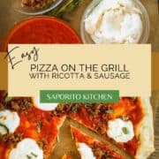 cut pizza with italian sausage and ricotta