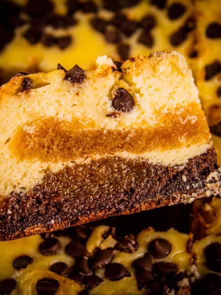 brownie layered with cheesecake and ladyfinger filling