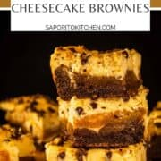 stack of cheesecake brownies with chocolate chips