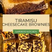 brownies layered with ladyfingers and cheesecake