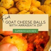 breaded and fried goat cheese balls