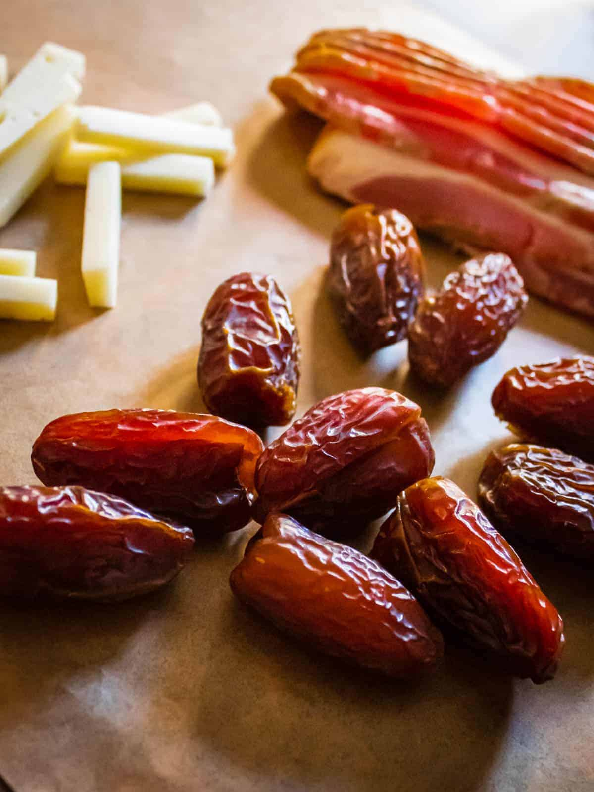 dates, manchego and bacon