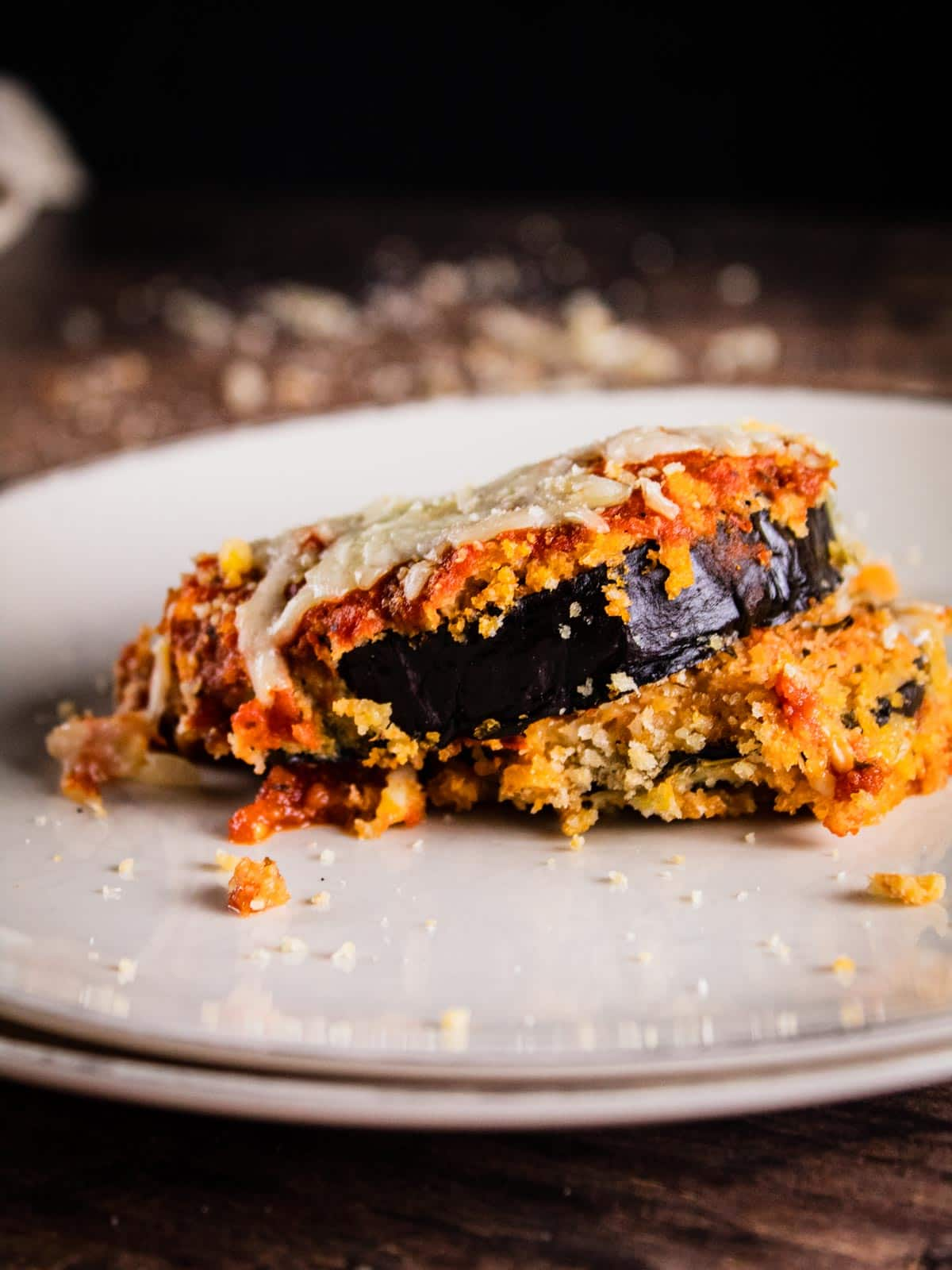 crispy baked eggplant slices with marinara and cheese