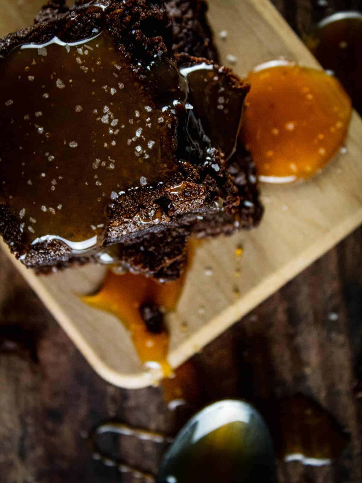 brownie topped with caramel sauce and sea salt