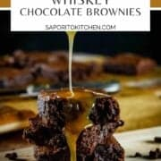 stack of brownies with caramel drizzling on them