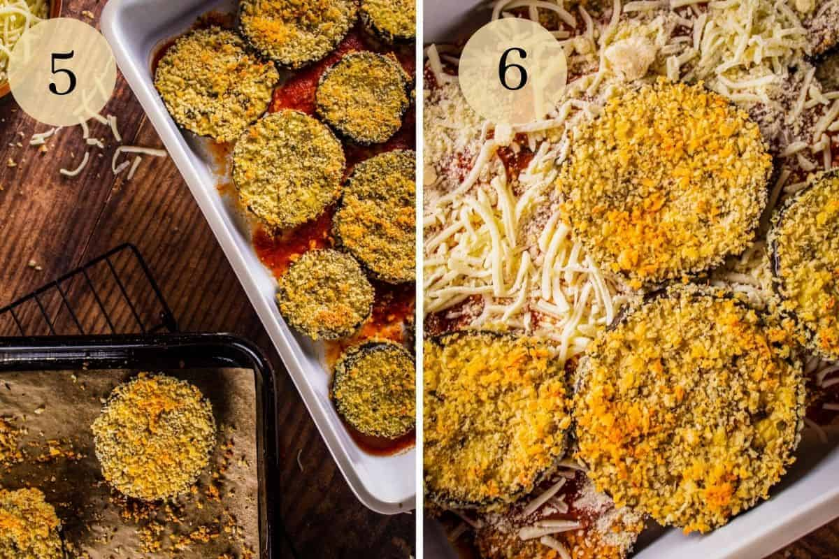 breaded eggplant slices on marinara in a baking pan and then layered with tomato sauce and cheese
