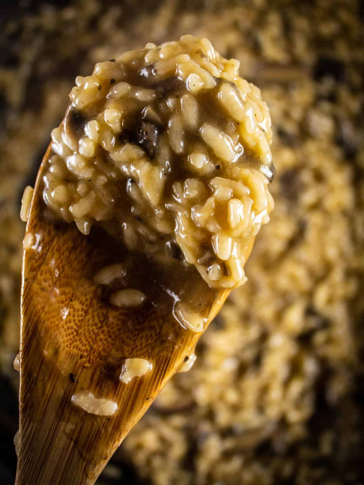 wooden spoon with a scoop of cooked mushroom risotto