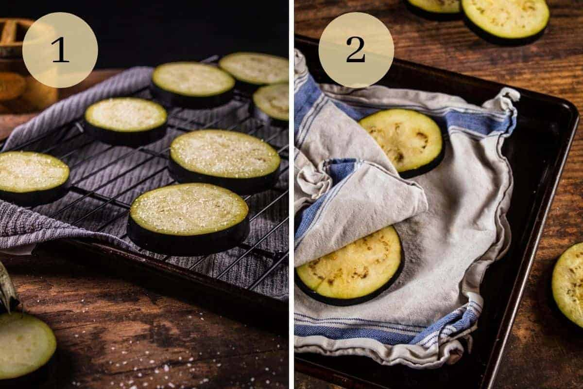 eggplant slices covered in salt on a cooling rack and then on a towel