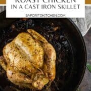 whole chicken roasted in a cast iron skillet
