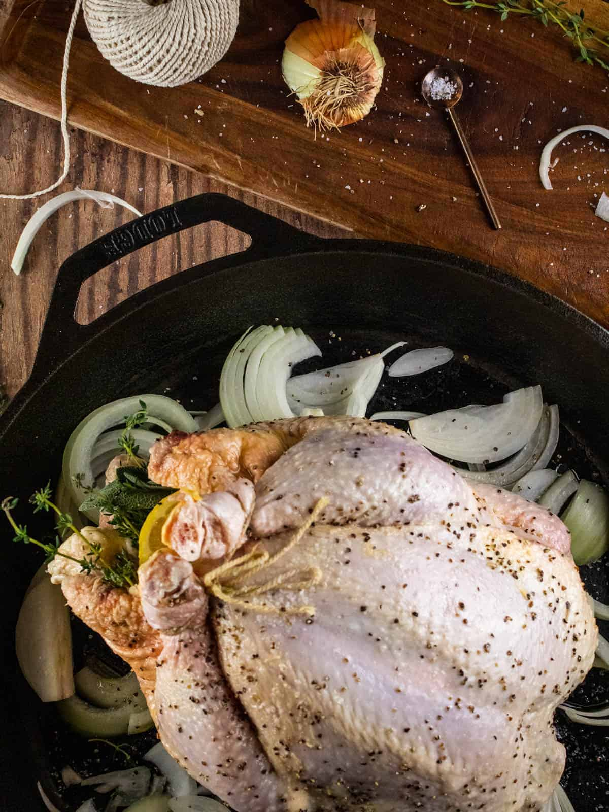 whole chicken rubbed with olive oil, salt & pepper