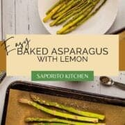 baked asparagus on a sheet pan and white plate