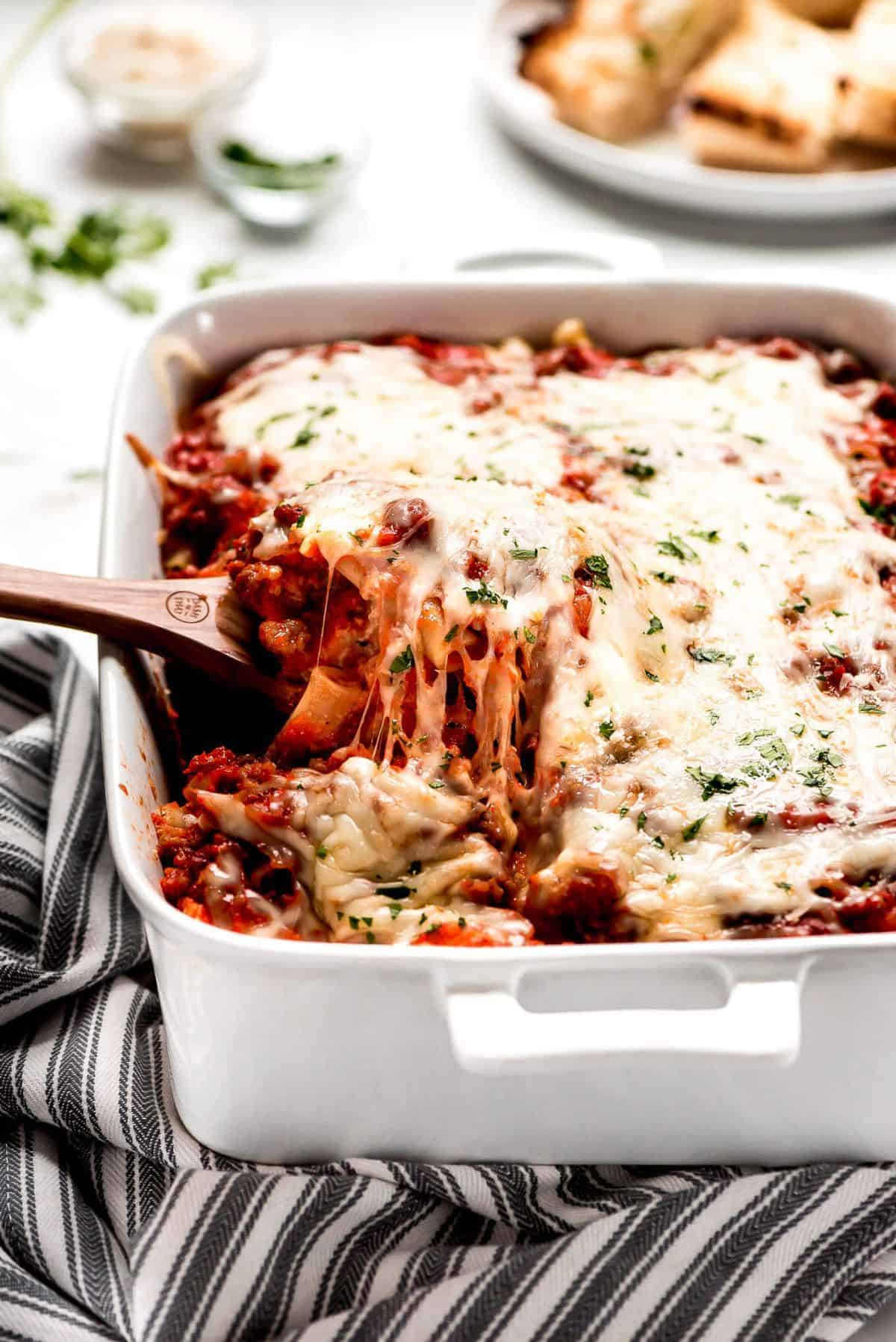 pan of baked ziti covered in cheese