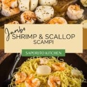 jumbo roasted shrimp and scallops with angel hair pasta
