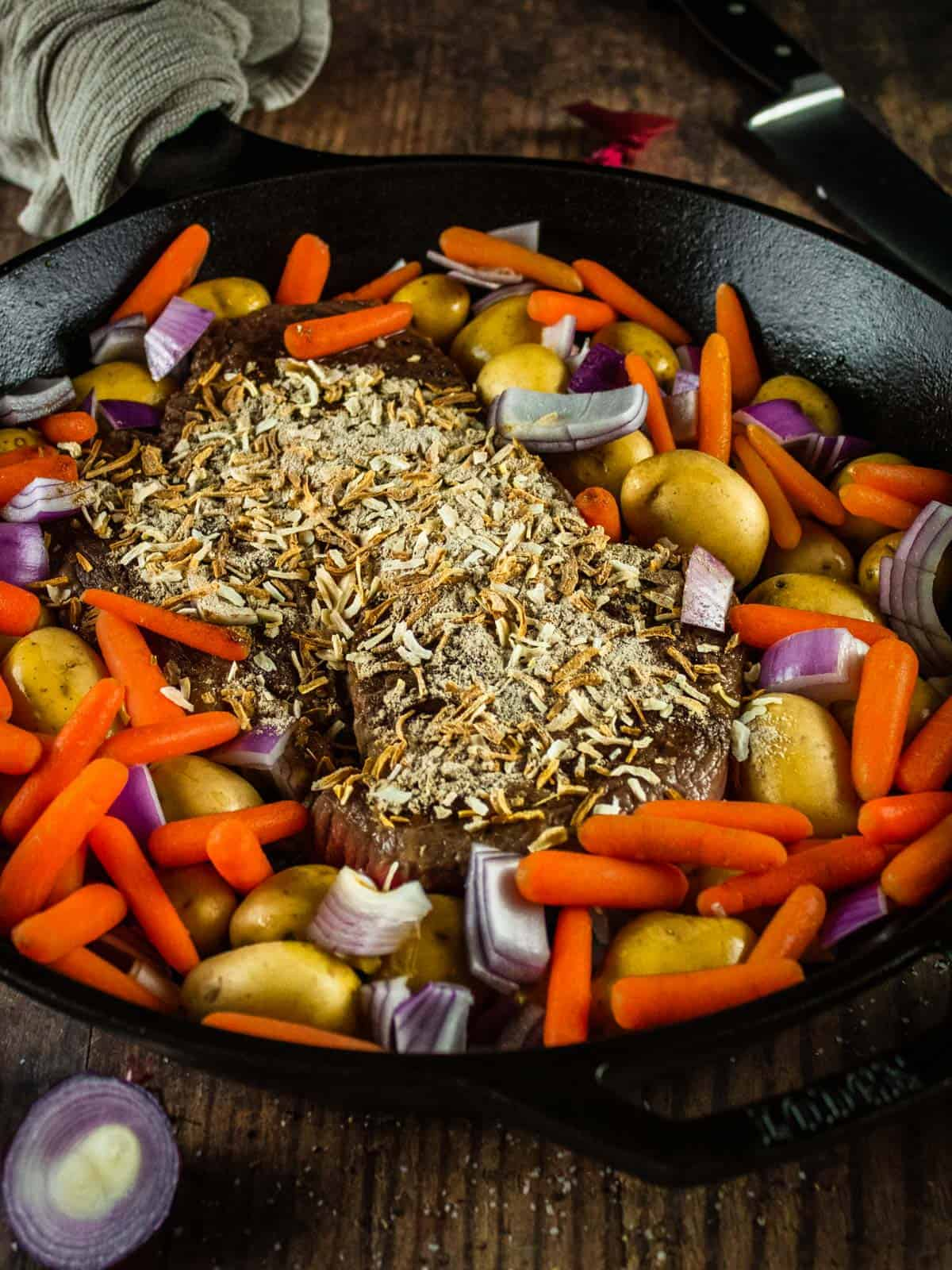 pot roast sprinkled with dry onion soup mix