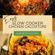 chicken cacciatore cooked in the slow cooker with spaghetti