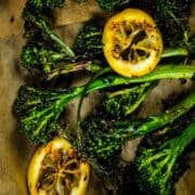 grilled broccolini with grilled lemon slices