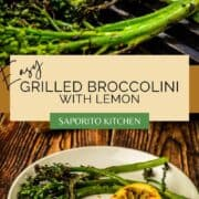grilled broccolini with grilled lemon slice