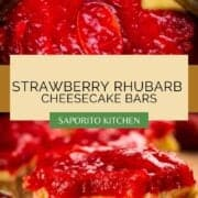 cheesecake bars topped with strawberry rhubarb jam