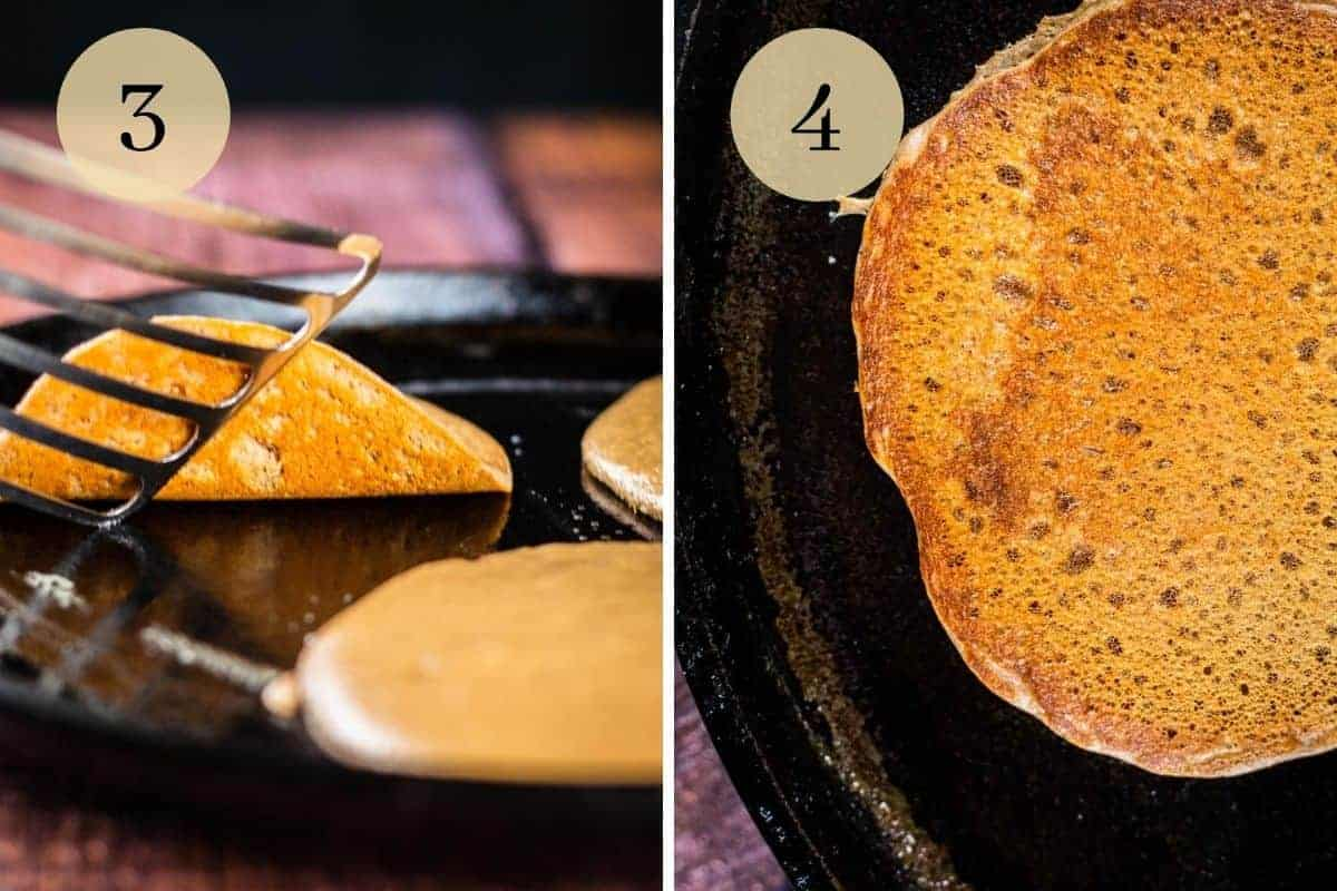 pancakes cooking a cast iron griddle pan with a spatula looking underneath a pancake
