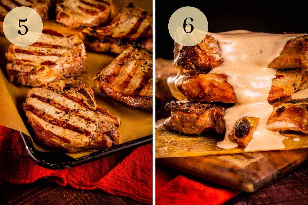grilled pork chops on a sheet pan and a stack of pork chops doused in white bbq sauce