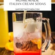 cream pouring into a glass with simple syrup and club soda