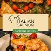 roasted salmon and tomatoes with fresh basil