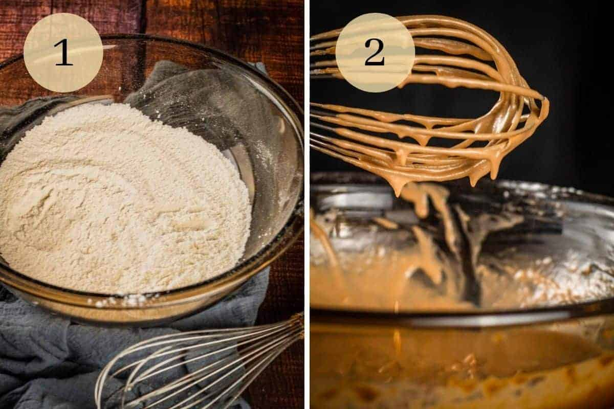 whisk next to a bowl of flour and whisk with nutella pancake batter dripping from it