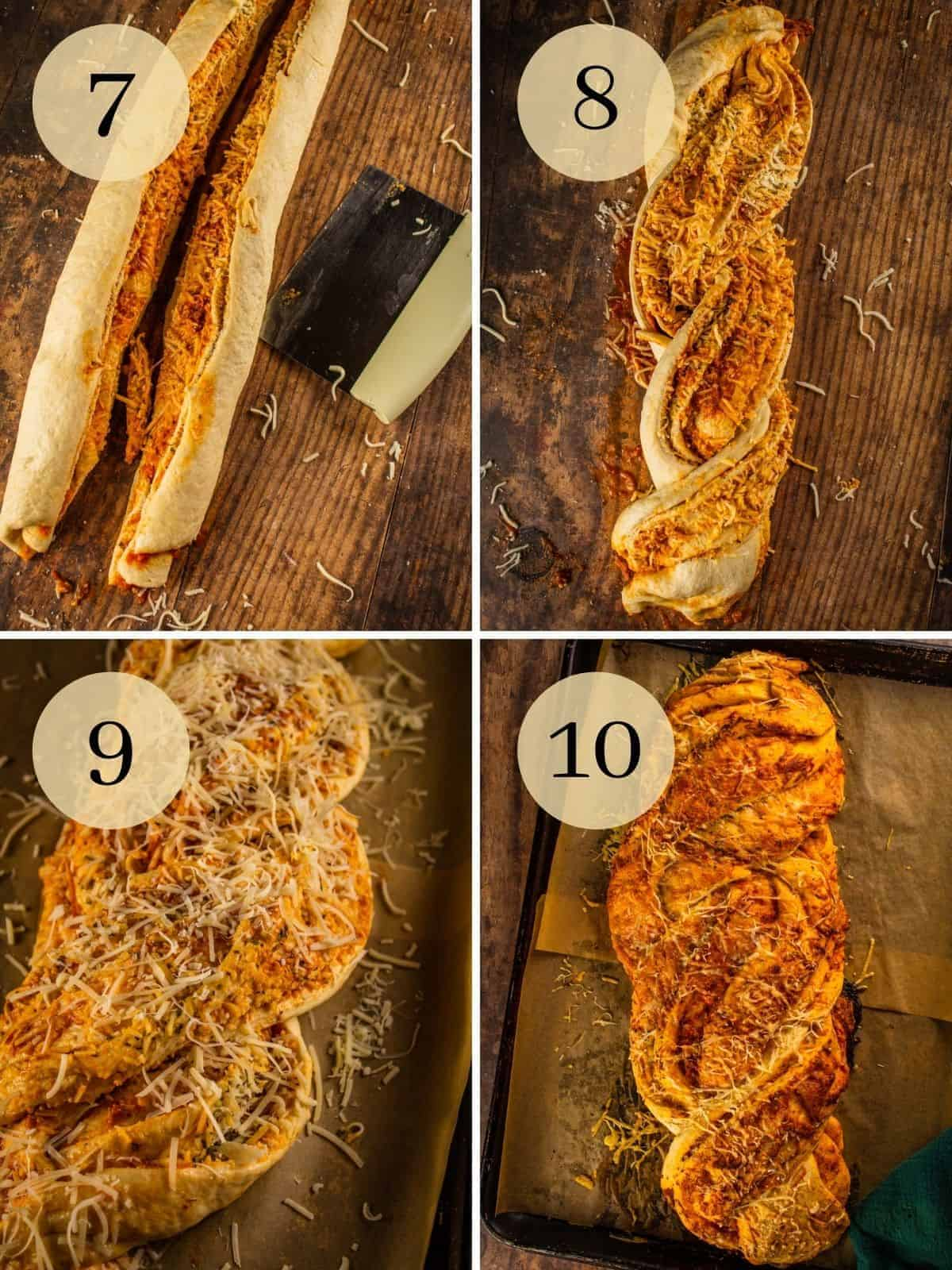 pizza bread dough rolled up and split, then braided, then topped with cheese and then baked