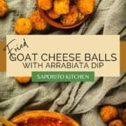 fried goat cheese balls in a container