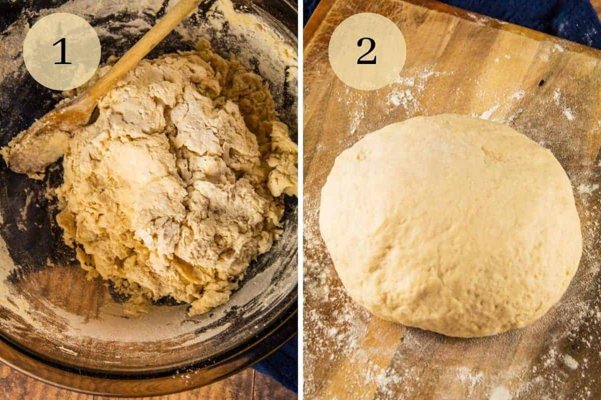 dough being mixed with a wooden spoon in a bowl and kneaded dough on a wooden cutting board