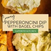 creamy dip in on a bagel chip and in a wooden bowl