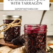 two mason jars filled with blackberry jam
