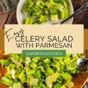 chopped celery and shaved parmesan salad on a wooden platter and white plate