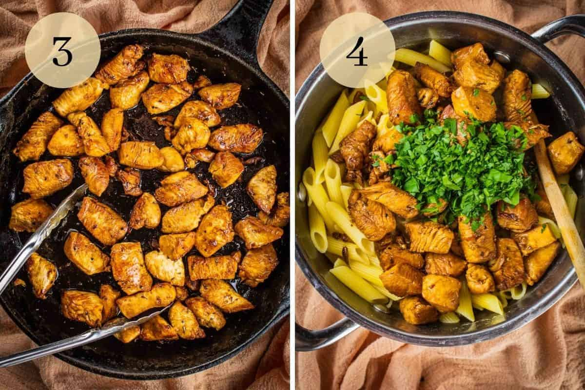 browned chicken chunks in a cast iron skillet and pasta with chicken and fresh parsley in a pot