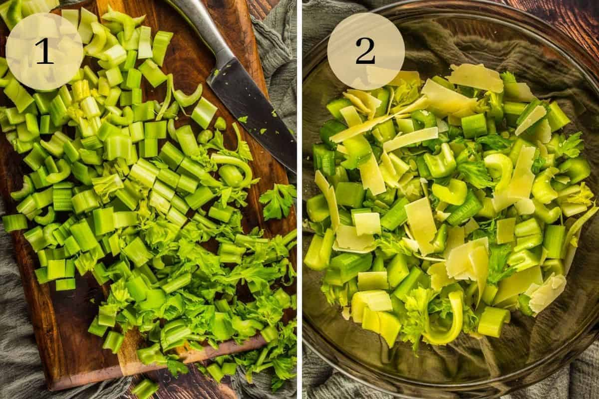 chopped celery on a cutting board and a mixing bowl with celery and parmesan