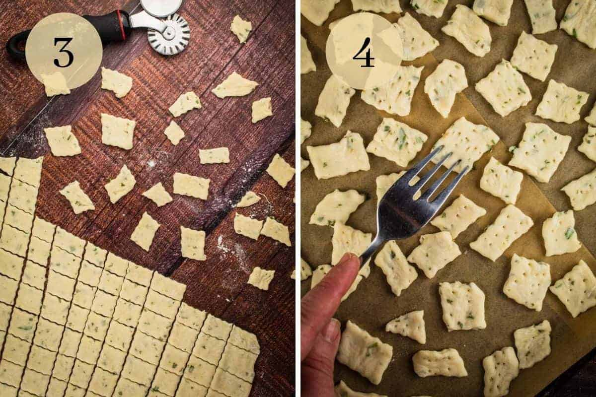 cutting dough into square shapes and poking them with a fork