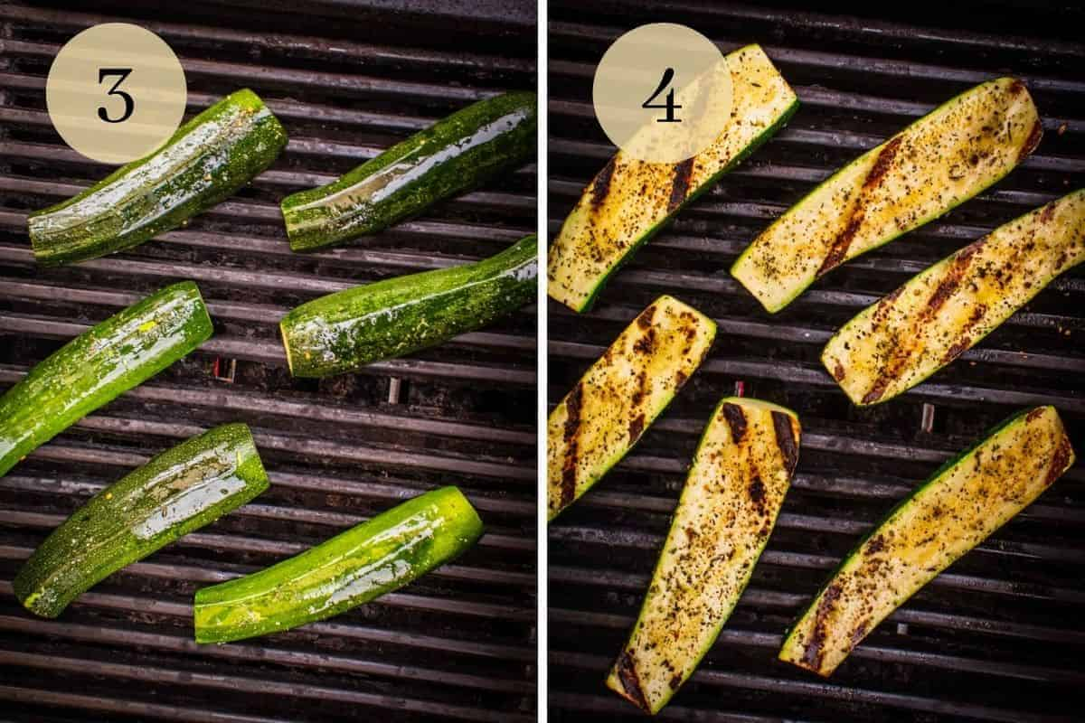 zucchini halves cooking on the grill and with grill marks on them