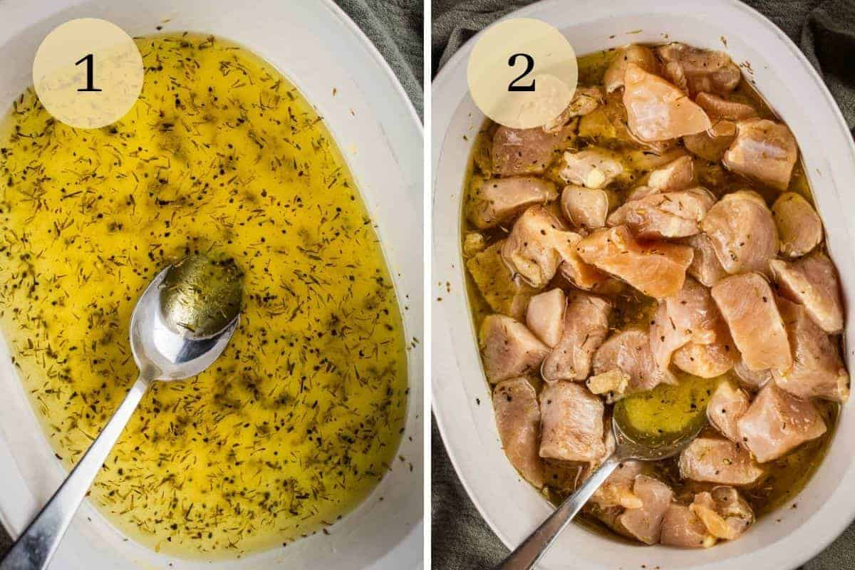lemon marinade in a white dish and chicken in the lemon marinade