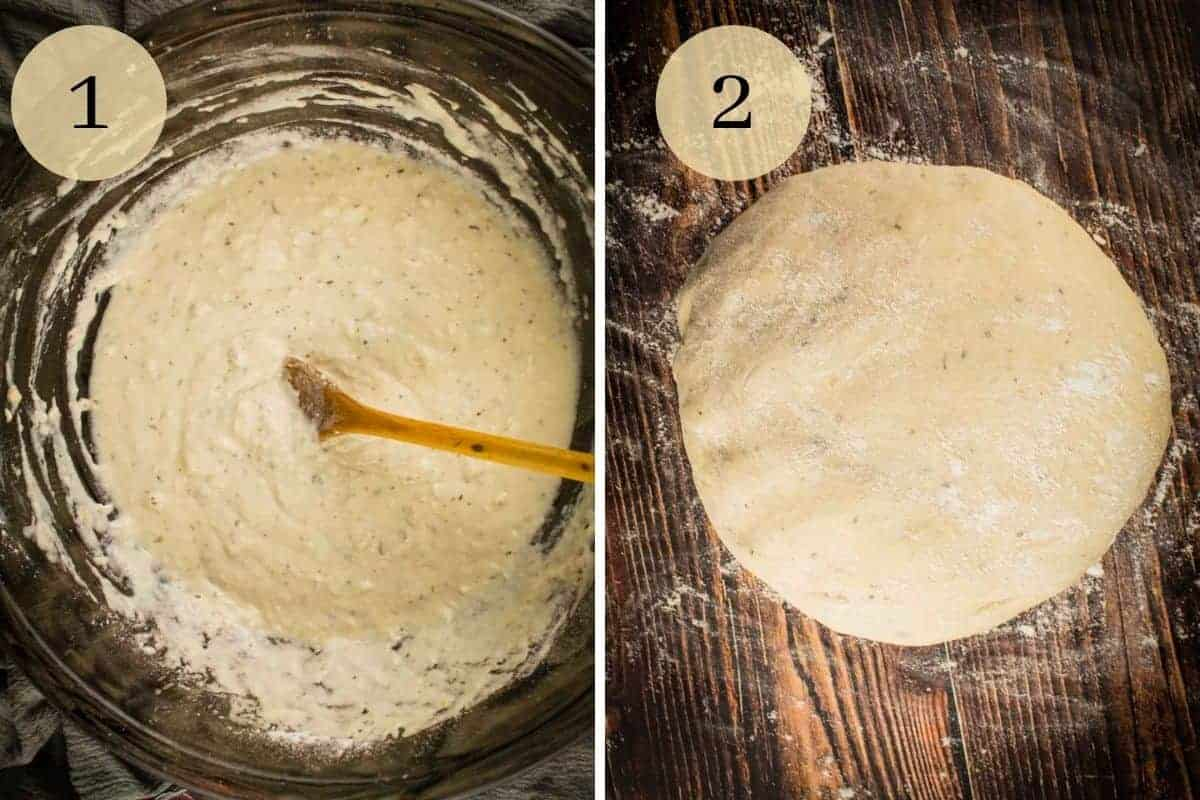 wooden spoon stirring pizza dough and a ball of kneaded dough for pizza
