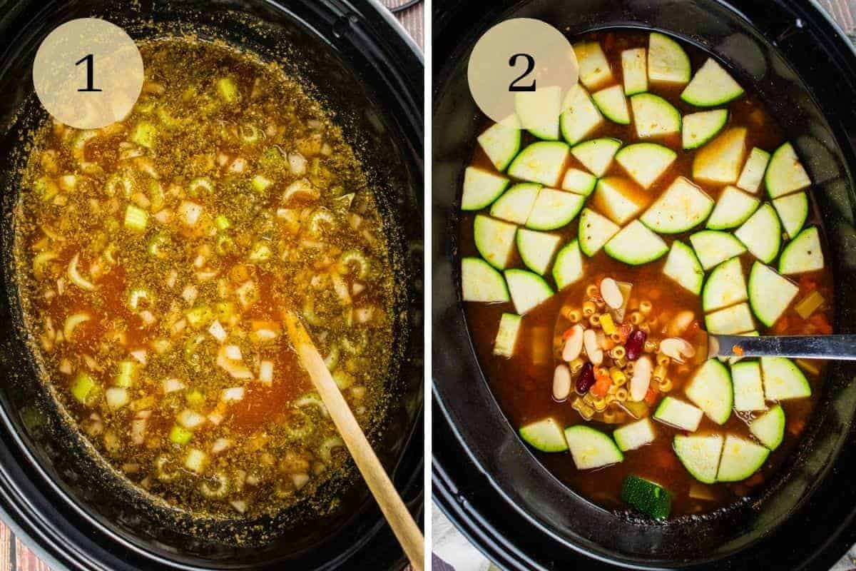 slow cooker with spoon stirring broth and vegetables and zucchini, pasta and beans added