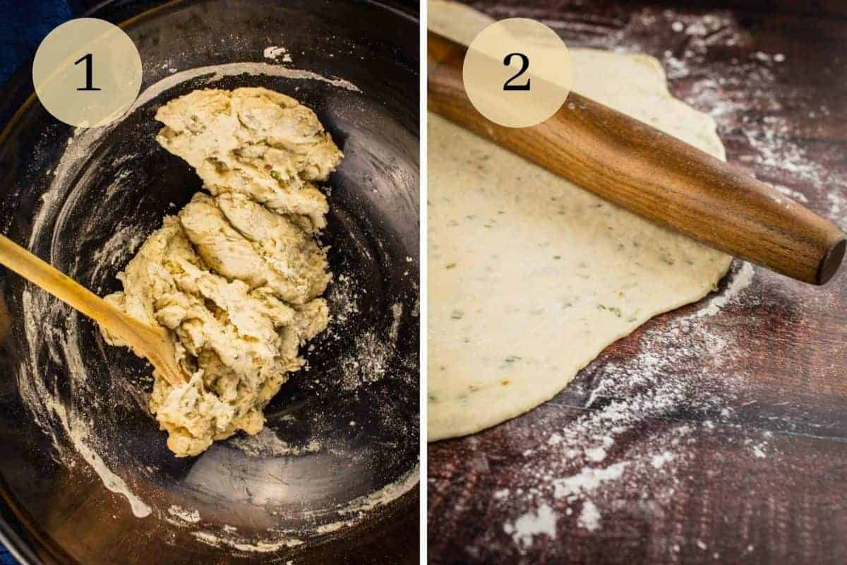 dough in a bowl and dough rolled out with a rolling pin